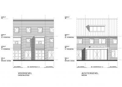 Tekening uitbouw aanvraag vergunning bouwtekening 05 geveltekening BouwAdvies.NL