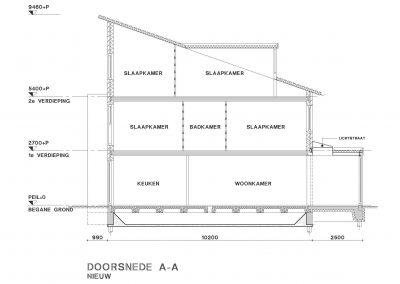 Tekening uitbouw aanvraag vergunning bouwtekening 06 doorsnede BouwAdvies.NL