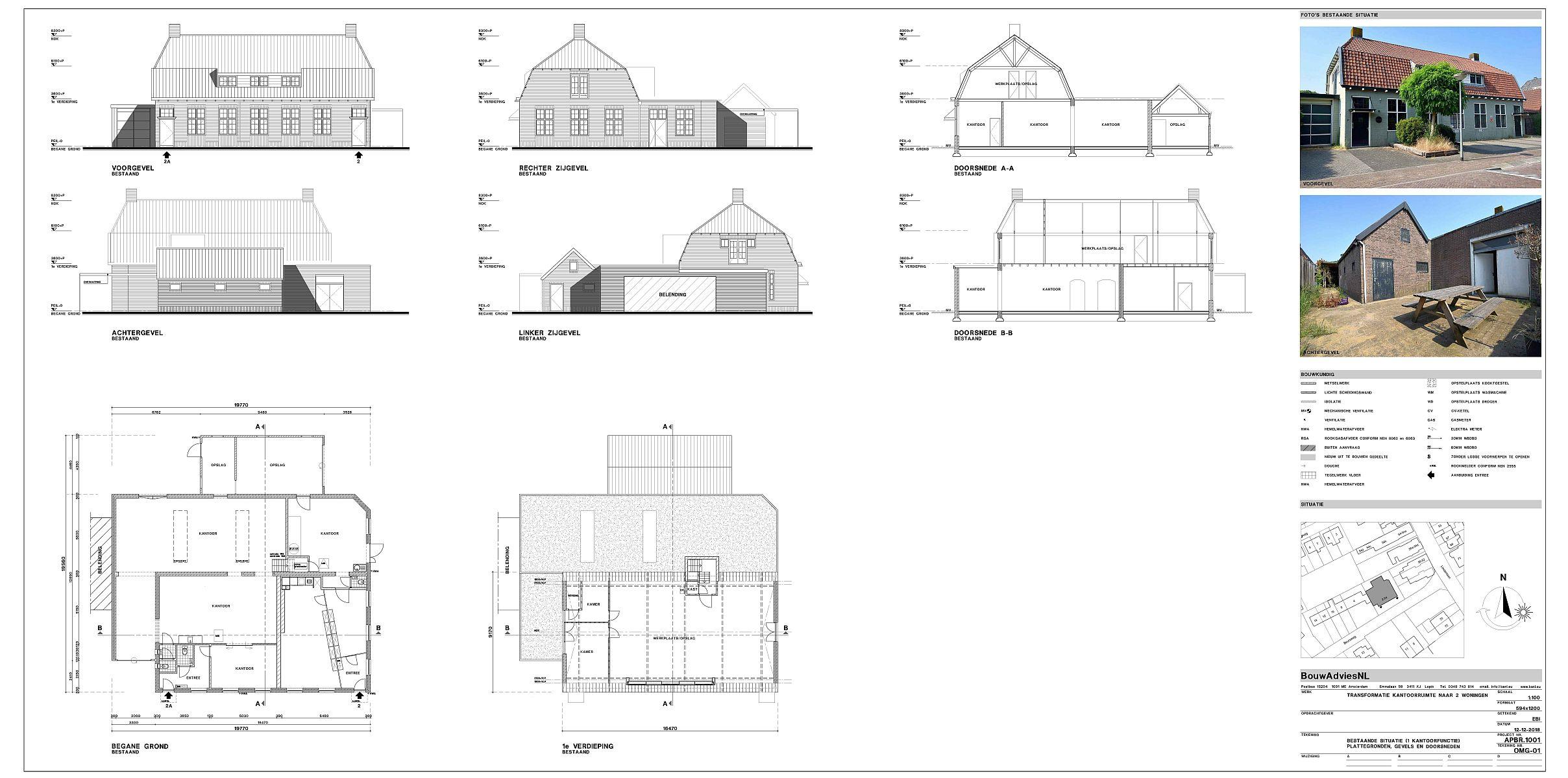 Onwijs Verbouwing kantoor tot twee woningen Huizen - BouwAdviesNL PV-64