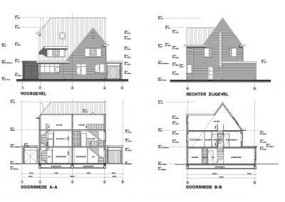 Tekening nieuwbouw woning aanvraag omgevingsvergunning 04 gevels doorsnede tekening BouwAdviesNL