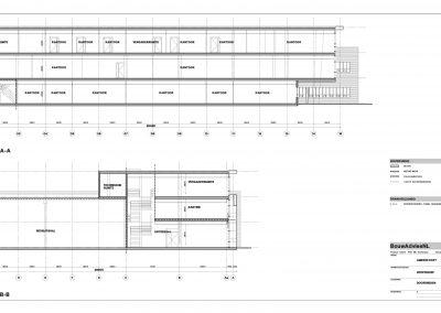 Verbouwing kantoor tekeningen aanvraag vergunning bouwbegeleiding 06 tekening doorsnede BouwAdviesNL
