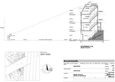 Verbouwing woning Amsterdam tekening aanvraag vergunning dakterras 03 dakterras zichtlijn BouwAdviesNL