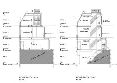 Verbouwing woning Amsterdam tekening aanvraag vergunning dakterras 04 dakterras doorsnede tekening BouwAdviesNL
