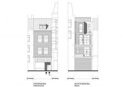 Verbouwing woning Amsterdam tekening aanvraag vergunning dakterras 09 dakterras gevels BouwAdviesNL